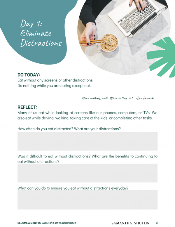 Become A Mindful Eater Workbook Preview 2