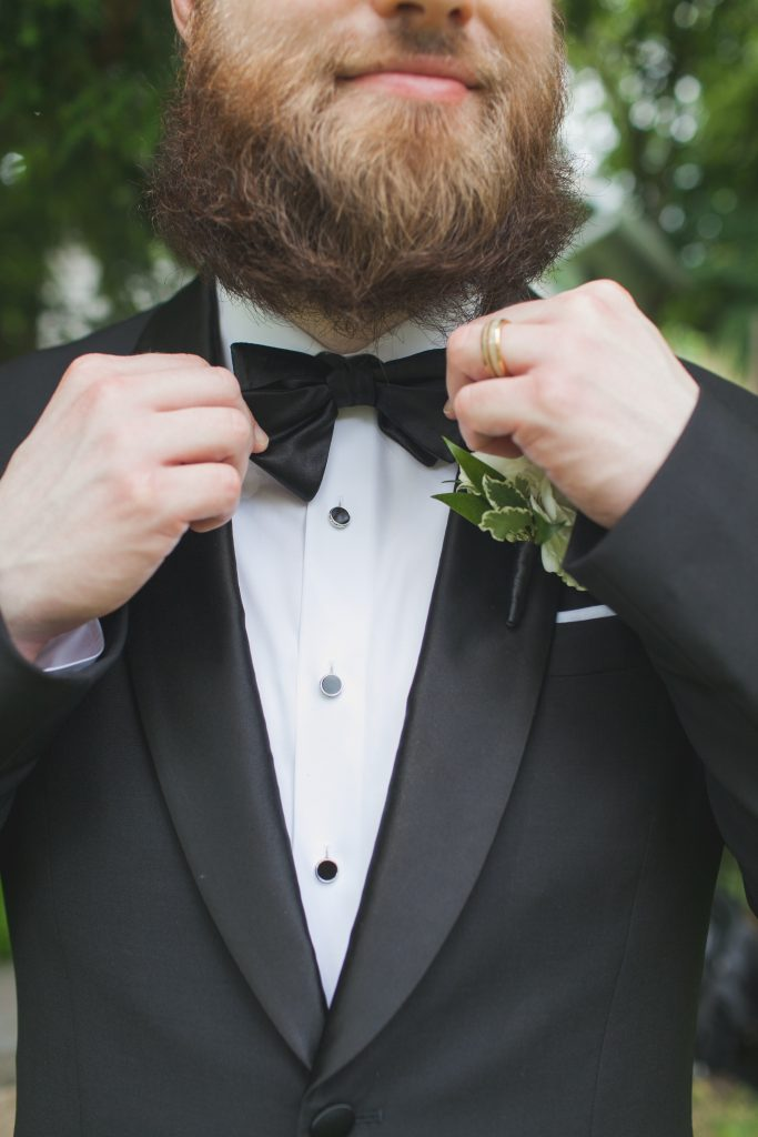 groom black tuxedo wedding