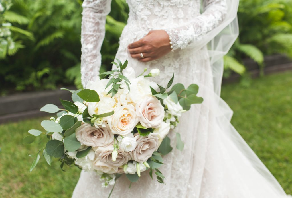 long sleeve wedding dress summer bouquet